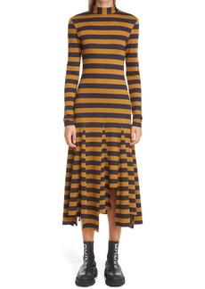 Monse Stripe Godet Pleat Long Sleeve Midi Dress