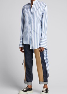 Monse Striped Drawstring Asymmetric Shirt