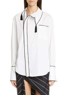 Monse Tassel Trim Asymmetrical Stretch Poplin Shirt