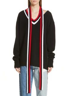 Monse Tie Neck Wool Sweater