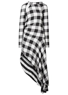 Monse Woman Asymmetric Cutout Gingham Crepe Midi Dress Black