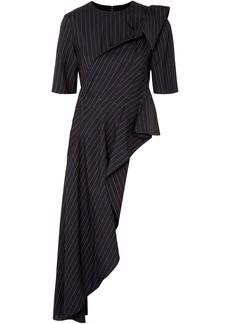Monse Woman Asymmetric Draped Pinstriped Wool-crepe Top Navy
