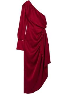Monse Woman Asymmetric One-shoulder Satin Midi Dress Crimson