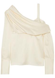 Monse Woman Cold-shoulder Draped Satin Top Cream