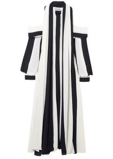 Monse Woman Cold-shoulder Striped Georgette Midi Dress Navy
