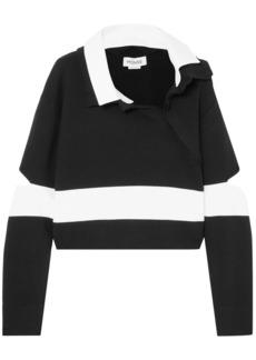 Monse Woman Cropped Cutout Striped Cotton-blend Polo Shirt Black