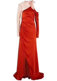 Monse Woman One-shoulder Two-tone Satin Gown Papaya