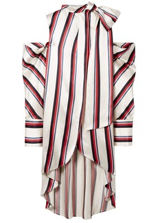 Monse Woman Oversized Cold-shoulder Striped Satin-twill Blouse Ivory
