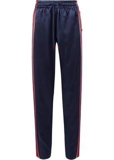 Monse Woman Snap-detailed Striped Stretch-silk Satin Track Pants Navy