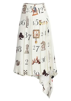 Monse Numbers-Print Pleated Silk Twill Midi Skirt