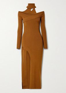 Monse Off-the-shoulder Merino Wool-blend Turtleneck Midi Dress