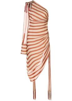 Monse one shoulder striped gathered dress