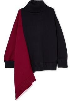 Monse Oversized Asymmetric Two-tone Merino Wool Turtleneck Sweater