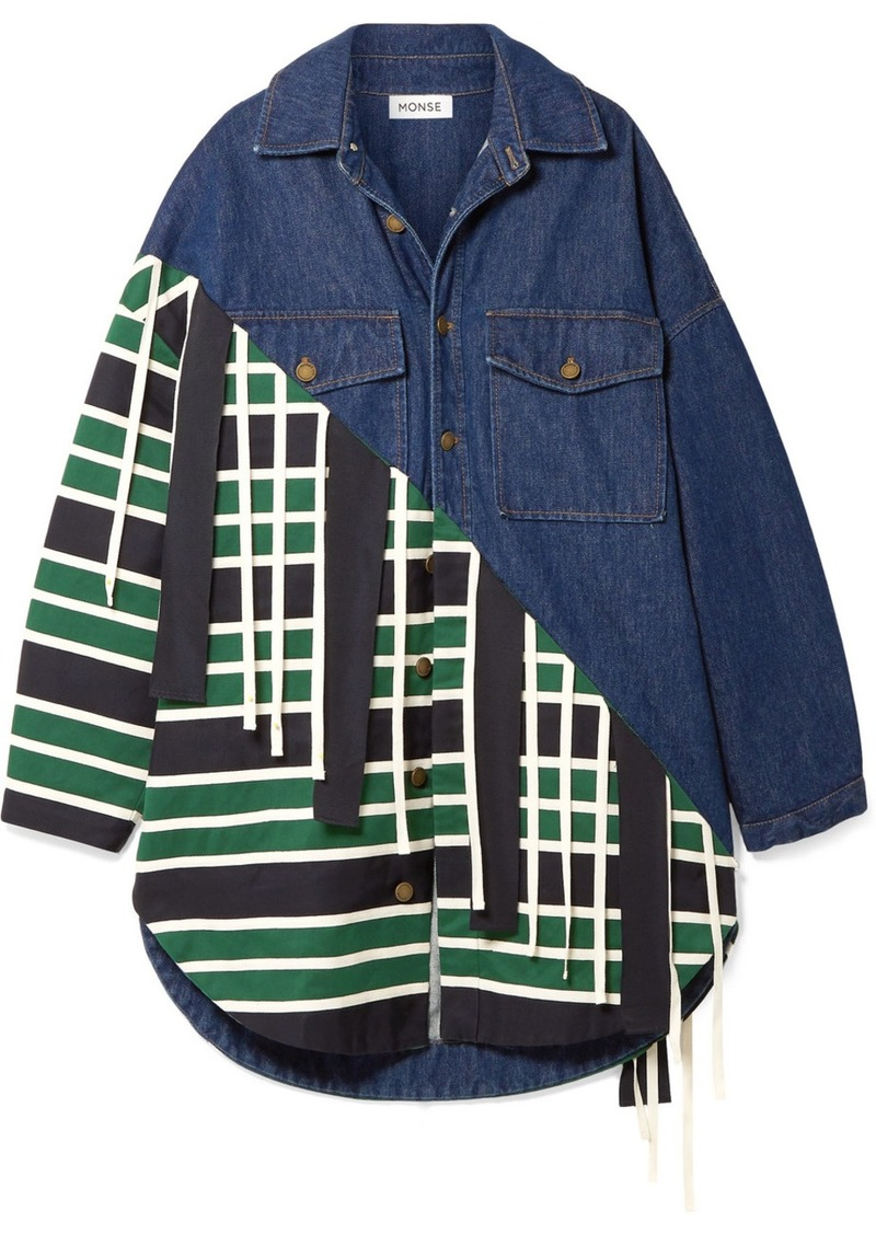 Monse Oversized Canvas And Grosgrain-trimmed Denim And Twill Jacket