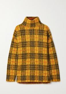Monse Oversized Cutout Checked Knitted Turtleneck Sweater