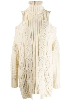 Monse cold-shoulder fisherman knit sweater