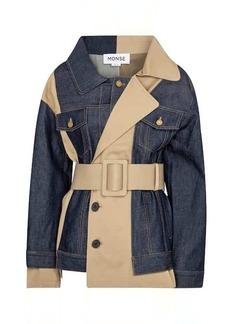 Monse Patchwork denim trench jacket