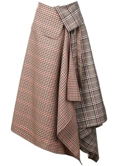 Monse patchwork plaid asymmetric skirt