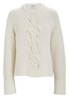 Monse Pearl Cable Knit Merino Wool Sweater