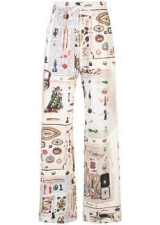Monse Objects print palazzo trousers