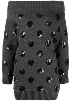 Monse sequin polka dot off-shoulder knit dress