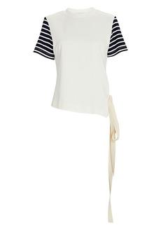 Monse Striped Asymmetrical Crewneck T-Shirt