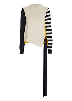 Monse Striped Colorblock Merino Wool Sweater