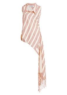 Monse Striped Fringe Draped Shirt