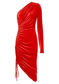 Monse Velvet Ruched Asymmetrical Mini Dress