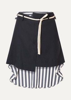 Monse Wool-blend Drill And Striped Voile Mini Skirt