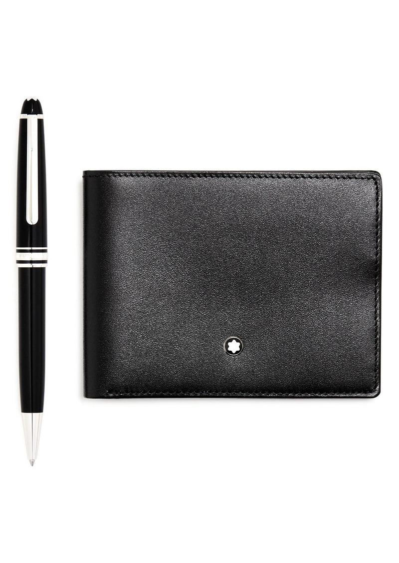 Montblanc Meisterst�ck Platinum-Plated Classique Ballpoint Pen & Leather Bi-Fold Wallet