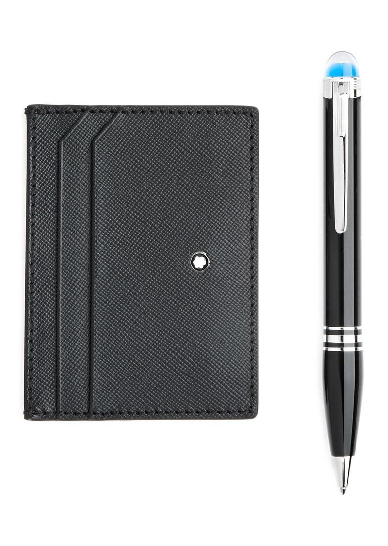 Montblanc StarWalker Resin Ballpoint Pen & Sartorial Leather Card Case Gift Set