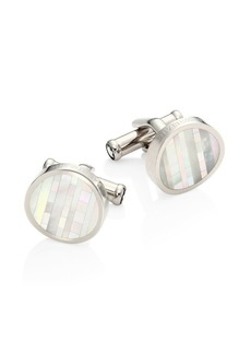 Montblanc Mother of Pearl & Stainless Steel Round Cuff Links