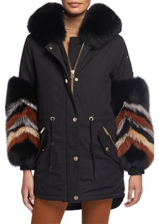 Moose Knuckles Coderre Zigzag Fox Fur-Cuff Coat w/ Rabbit Fur Lining
