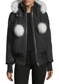 Moose Knuckles Debbie Long-Sleeve Zip-Front Bomber Jacket w/ Pompoms