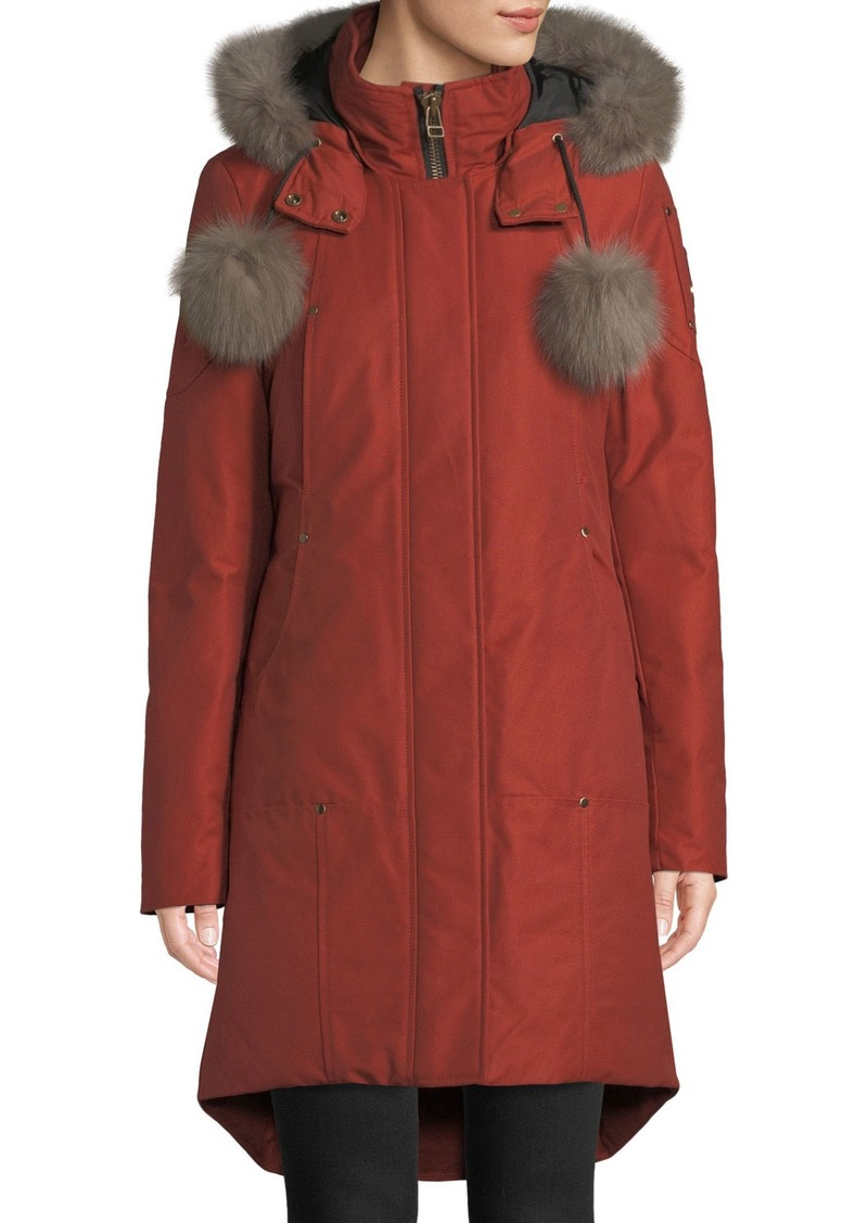 3b0753c4c Meighen Parka Coat w/ Fur Hood & Pompoms