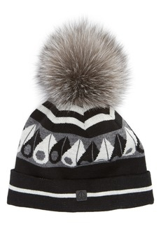 Moose Knuckles Canuk Toque with Removable Genuine Fox Fur Pom