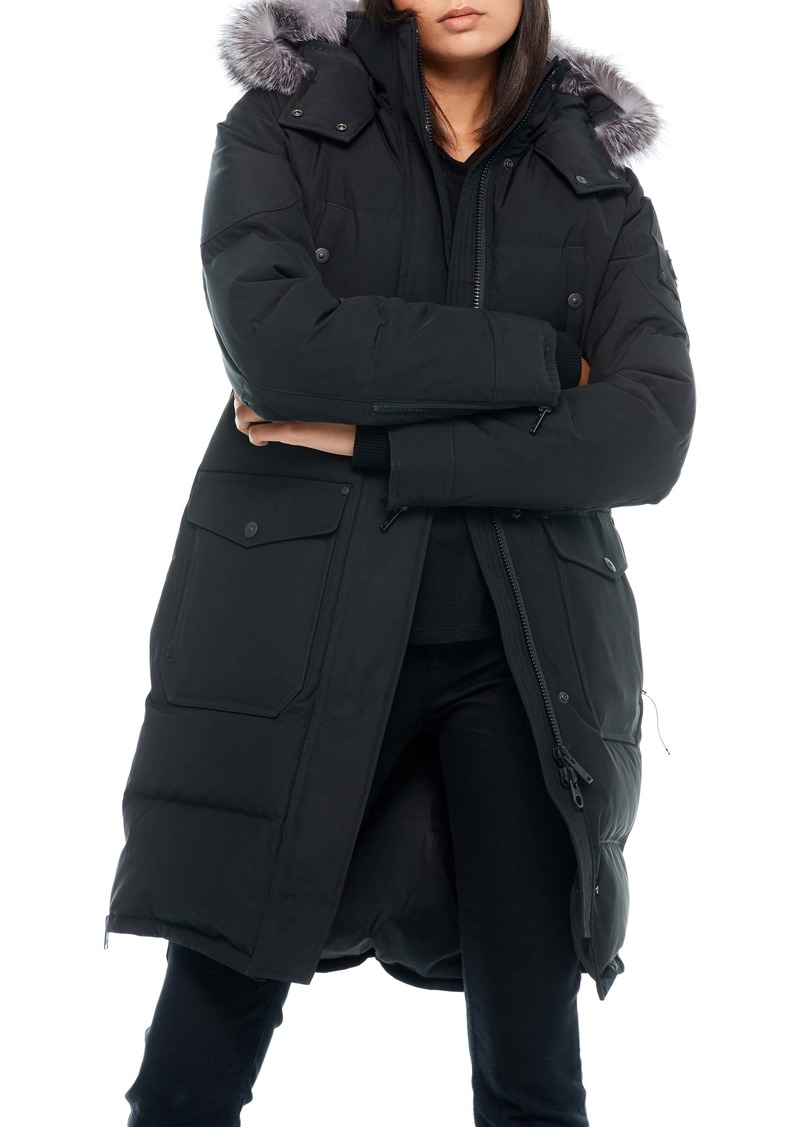 Moose Knuckles Causapcal Water Resistant Hooded Down Parka with Genuine Fox Fur Trim