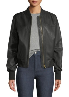 Moose Knuckles Grasslands Leather Bomber Jacket