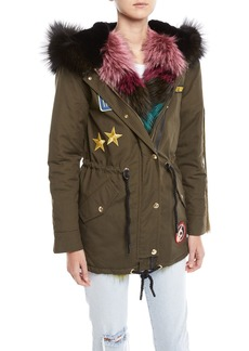 Moose Knuckles Superfreak Hooded Parka Coat w/ Fur Trim & Patches