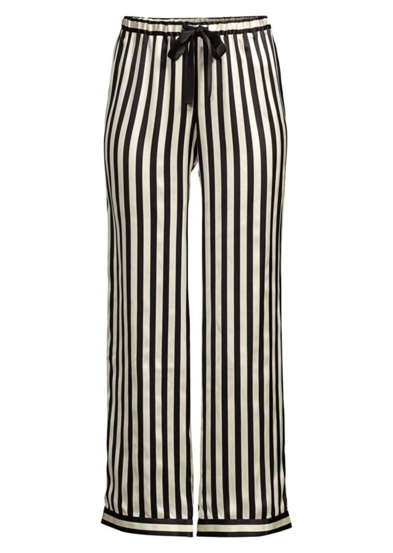 Morgan Lane Chantal Striped Silk Charmeuse Pajama Pants