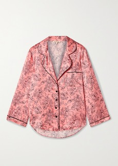 Morgan Lane Kinsley Piped Floral-print Satin Pajama Top