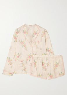 Morgan Lane Mimi Martine Floral-print Satin-jacquard Pajama Set