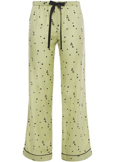 Morgan Lane Woman Chantal Printed Cotton And Silk-blend Pajama Pants Sage Green