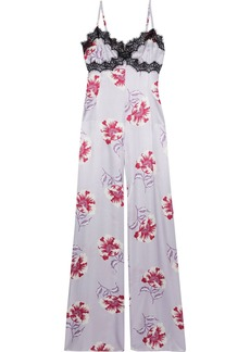 Morgan Lane Woman Chantilly Lace-trimmed Floral-print Charmeuse Jumpsuit Lilac