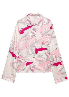 Morgan Lane Woman Ruthie Printed Charmeuse Pajama Shirt Pink