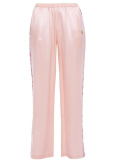 Morgan Lane Woman Yana Embroidered Striped Satin Pajama Pants Blush