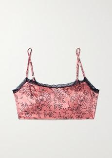 Morgan Lane Noelle Lace-trimmed Floral-print Silk-blend Satin Soft-cup Bralette