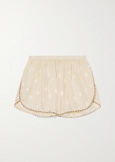 Morgan Lane Rosie Embroidered Silk-blend Jacquard Pajama Shorts