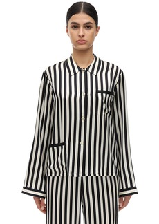Morgan Lane Ruthie Striped Silk Charmeuse Pajama Top